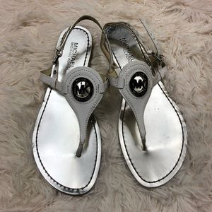 Michael Kors white patent leather sandals